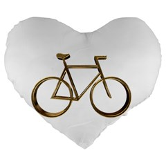 Elegant Gold Look Bicycle Cycling  Large 19  Premium Heart Shape Cushions