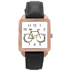 Elegant Gold Look Bicycle Cycling  Rose Gold Leather Watch