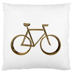 Elegant Gold Look Bicycle Cycling  Large Flano Cushion Case (two Sides)