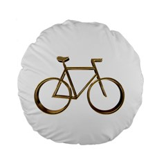Elegant Gold Look Bicycle Cycling  Standard 15  Premium Flano Round Cushions
