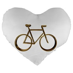 Elegant Gold Look Bicycle Cycling  Large 19  Premium Flano Heart Shape Cushions
