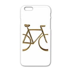 Elegant Gold Look Bicycle Cycling  Apple Iphone 6/6s White Enamel Case