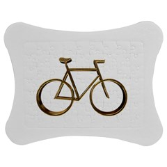 Elegant Gold Look Bicycle Cycling  Jigsaw Puzzle Photo Stand (bow)