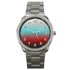 Frosted Blue And Red Sport Metal Watch