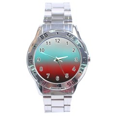 Frosted Blue And Red Stainless Steel Analogue Watch