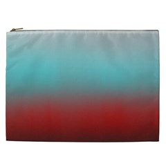 Frosted Blue And Red Cosmetic Bag (xxl)