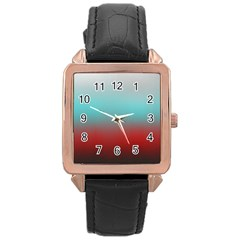 Frosted Blue And Red Rose Gold Leather Watch