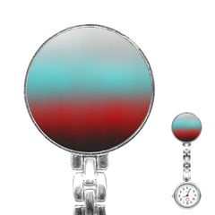 Frosted Blue And Red Stainless Steel Nurses Watch
