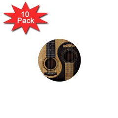 Old And Worn Acoustic Guitars Yin Yang 1  Mini Buttons (10 Pack)