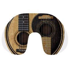 Old And Worn Acoustic Guitars Yin Yang Travel Neck Pillows