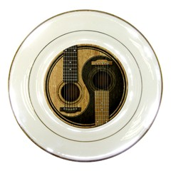 Old And Worn Acoustic Guitars Yin Yang Porcelain Plates