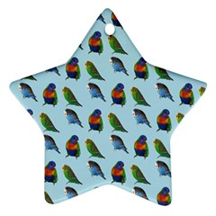 Blue Birds Parrot Pattern Star Ornament (two Sides)