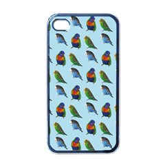 Blue Birds Parrot Pattern Apple Iphone 4 Case (black)