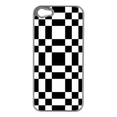 Checkerboard Black And White Apple Iphone 5 Case (silver)