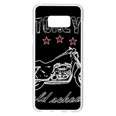 Motorcycle Old School Samsung Galaxy S8 Plus White Seamless Case