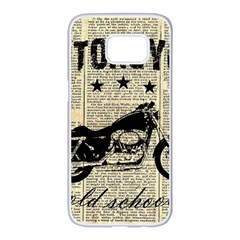 Motorcycle Old School Samsung Galaxy S7 Edge White Seamless Case