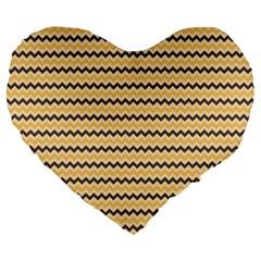 Colored Zig Zag Large 19  Premium Heart Shape Cushions