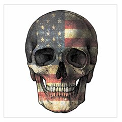 American Flag Skull Large Satin Scarf (square)