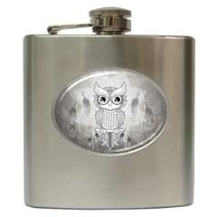 Wonderful Owl, Mandala Design Hip Flask (6 Oz)