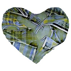 Another Modern Moment Yellow Large 19  Premium Heart Shape Cushions