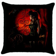 Steampunk, Wonderful Steampunk Lady In The Night Throw Pillow Case (black)