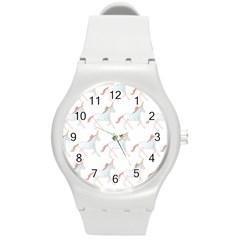 Unicorn Pattern Round Plastic Sport Watch (m)