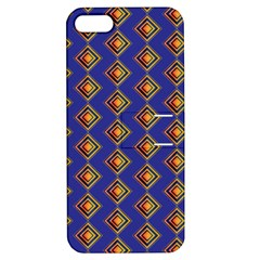 Blue Geometric Losangle Pattern Apple Iphone 5 Hardshell Case With Stand