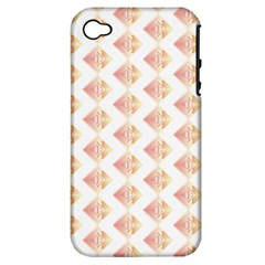 Geometric Losangle Pattern Rosy Apple Iphone 4/4s Hardshell Case (pc+silicone)