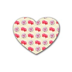 Yellow Floral Roses Pattern Rubber Coaster (heart)
