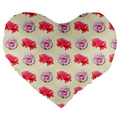 Yellow Floral Roses Pattern Large 19  Premium Heart Shape Cushions