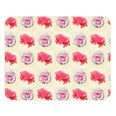 Yellow Floral Roses Pattern Double Sided Flano Blanket (large)