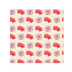Yellow Floral Roses Pattern Small Satin Scarf (square)