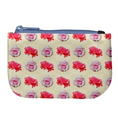Yellow Floral Roses Pattern Large Coin Purse