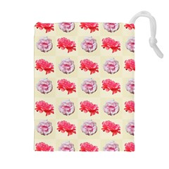 Yellow Floral Roses Pattern Drawstring Pouches (extra Large)
