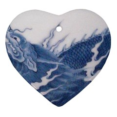 Blue Chinese Dragon Heart Ornament (two Sides)