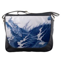 Blue Chinese Dragon Messenger Bags