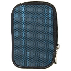 Blue Sparkly Sequin Texture Compact Camera Cases