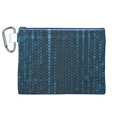 Blue Sparkly Sequin Texture Canvas Cosmetic Bag (xl)