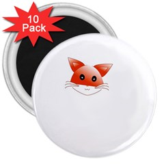 Animal Image Fox 3  Magnets (10 Pack)