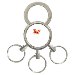 Animal Image Fox 3 Ring Key Chains