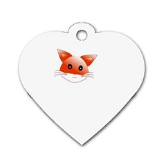 Animal Image Fox Dog Tag Heart (one Side)