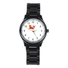 Animal Image Fox Stainless Steel Round Watch