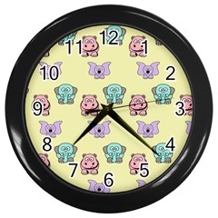 Animals Pastel Children Colorful Wall Clocks (black)