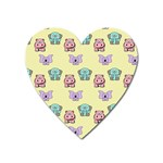 Animals Pastel Children Colorful Heart Magnet Front