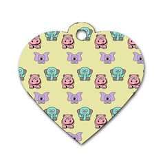 Animals Pastel Children Colorful Dog Tag Heart (one Side)