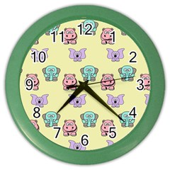 Animals Pastel Children Colorful Color Wall Clocks
