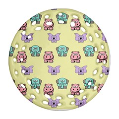 Animals Pastel Children Colorful Ornament (round Filigree)