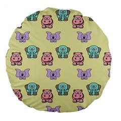 Animals Pastel Children Colorful Large 18  Premium Round Cushions