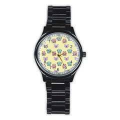Animals Pastel Children Colorful Stainless Steel Round Watch