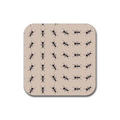 Ants Pattern Rubber Square Coaster (4 Pack)